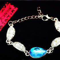 Hot Betsey Johnson Beautiful Women's Jewelry Blue Crystal Leaf Glamour Bracelet Photo