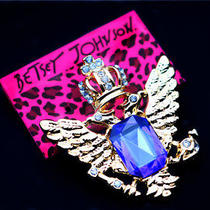 Hot Betsey Johnson Fashion Jewelry Glamour Blue Crystal Badge Brooch Pin Photo