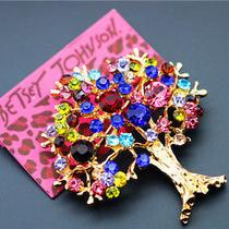 Hot Betsey Johnson Pretty Fashion Jewel Female Crystal the World Tree Brooch Pin Photo