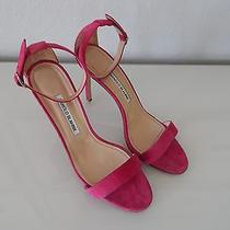 Hot Manolo Blahnik Chaos Cuff Suede Strappy Pink Sandals Sz 9.5/39.5 Photo