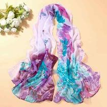 Hot Peony Printed Chiffon Shawl Beach Chiffon Scarf Silk Schal Stola 8 Colors Photo
