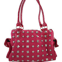Hot Pink Chrome Studded Handbag Mock Croc Accents Photo