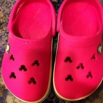 Hot Pink Crocs Mickey Head Holes Sz 8/9 Kids Photo