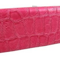 Hot Pink Mock Croc Wristlet Checkbook Wallet Clutch Color Pink Photo
