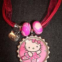 Hot Pink Organza Ribbon Cord Cap Charm Beads Necklace Hello Kitty Cat Ballerina Photo