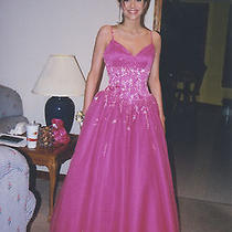 Hot Pink Tiffany Brand Evening Gown Size 4 Corset Back Photo