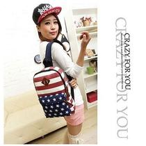 Hot Sale 8 Book/travel Vintage Hobo Backpack Canvas Usa Flag Small Rucksack Bags Photo