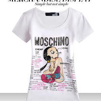 Hot Sell Womens Vogue Love Moschino  Olive Oyl R- Neck White T-Shirts Sizemed Photo