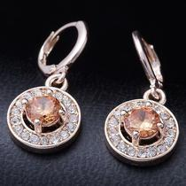 Hot Shine Circle Gems Rose Gold Filled C.z Women Lady Earrings Jewelry Cz0110 Photo