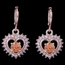 Hot Shine Heart Hot Rose Gold Filled C.z Women Lady Earrings Jewelry Cz0111 Photo
