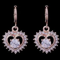 Hot Shine Heart Hot Rose Gold Filled C.z Women Lady Earrings Jewelry Cz0113 Photo