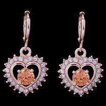 Hot Shine Heart Hot Rose Gold Filled C.z Women Lady Earrings Jewelry Cz0111 Photo
