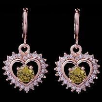 Hot Shine Heart Hot Rose Gold Filled C.z Women Lady Earrings Jewelry Cz0114 Photo