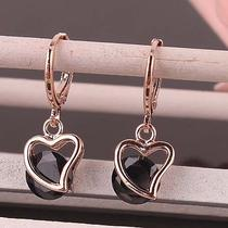 Hot Women 14k Rose Gold Filled Round Cut Black Zircon Heart Dangle Earrings D454 Photo