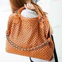 Hot Women Lady Hobo Weave Faux Leather Handbag Tote Shoulder Bag Orange M00 Photo