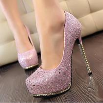 Hot Women's Thin High Heeled Shining Crystal Diamond Waterproof Wedding Shoes Photo