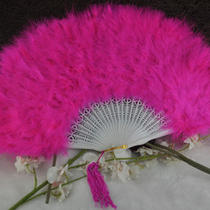 Hotpink Feather Folding Hand Fans Fancy Dress Party Wedding Favor Photo