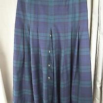 House of Bruar 100% Wool Blue Green Campbell Tartan Skirt Uk12 Eu40 Photo