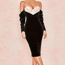 House of Cb 'Fifi' Black  Blush Velvet Boned Corset Dress /size Xs-Us 2-4 /le47 Photo