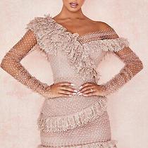 House of Cb 'Sorrel' Blush Lace Frill Mini Dress /size Xs-Us 2-4 /le944 Photo