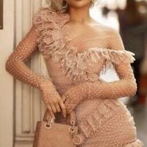 House of Cb 'Sorrel' Blush Lace Frill Mini Dress /size Xs-Us 2-4 Photo