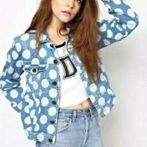 House of Holland Oversized Blue Denim White Polka Dot Jacket Vgc Size 6/8/10 Vgc Photo