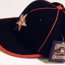 Houston Astros Mens 7 5/8 Throwback Orange Blue White Sport Billow Hat Caps Nwt  Photo