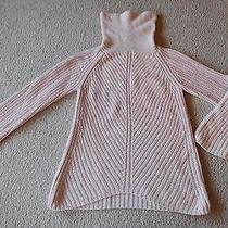 Htf Girls L 14 Blush Lands End Sweater Junior No Flaws Cable Knit Hi Low Hem Photo
