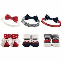 Hudson Baby Baby Headband and Socks Giftset Red Navy Red Navy Size One Size Photo