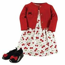 Hudson Baby Girl Cardigan Dress and Shoes Cherries 3-Piece Set Size 0.0 63j3 Photo