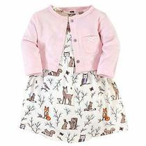Hudson Baby Girls' Cotton Dress and Cardigan Set Enchanted Forest 6-9 Months Photo