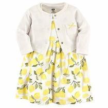 Hudson Baby Girls' Cotton Dress and Cardigan Set Lemon 9-12 Months Photo
