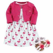 Hudson Baby Girls' Cotton Dress Cardigan and Shoe Set Bright Flamingo 9-12 Mo... Photo