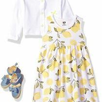 Hudson Baby Girls' Cotton Dress Cardigan and Shoe Set Lemon 12-18 Months Photo