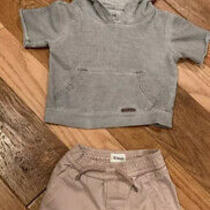 Hudson Baby Outfit Denim Shorts & Hooded Sweatshirt Size 12 Months Photo