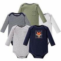 Hudson Baby Unisex Baby Cotton Long-Sleeve Bodysuits Mr Fox 0-3 Months Us Photo