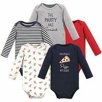 Hudson Baby Unisex Baby Cotton Long-Sleeve Bodysuits Pizza 12-18 Months Photo
