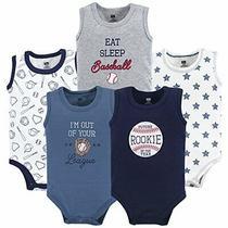 Hudson Baby Unisex Baby Cotton Sleeveless Bodysuits Baseball 9-12 Months Photo