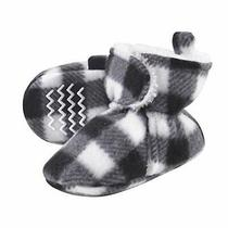 Hudson Baby Unisex Baby Cozy Fleece and Sherpa Booties Black White Plaid 12-1... Photo