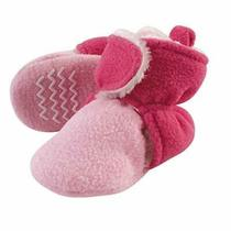 Hudson Baby Unisex Baby Cozy Fleece and Sherpa Booties Light Pink Dark Pink 6... Photo