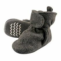 Hudson Baby Unisex Baby Cozy Fleece Booties With Non Skid Dark Gray Size 0.0 O Photo