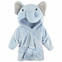 Hudson Baby Unisex Baby Plush Animal Face Robe Blue Elephant One Size 0-9 Mon Photo