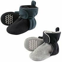 Hudson Baby Unisex Cozy Fleece Booties Blue Gray 0-6 Months Photo