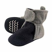 Hudson Baby Unisex Cozy Fleece Booties Navy Heather Gray 0-6 Months Photo