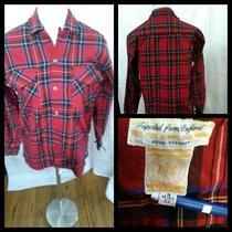 Hudson Bay Wool Flannel Shirt Men's Small Red Plaid Long Sleeved Invz2697 Photo