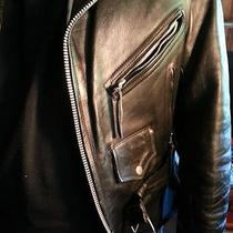 Hudson Black Leather Motorcycle Jacket-Silver Tone Zippers Snaps Etc.. Photo