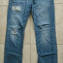 Hudson Byron Straight Leg Distressed Button Fly Blue Jeans Men's Size 34 Nice Photo