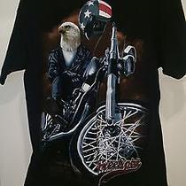 Hudson Creek Men's Black W/ Multi Color Free Spirit Eagle/bike T-Shirt Size Xl Photo