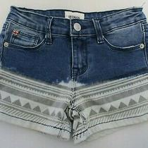 Hudson Girls Blue Gray Ombre Denim Distressed Pockets Jean Shorts - 8 Photo