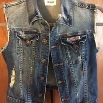 Hudson Girls Distressed Denim Vest Button Front Size L Union Jack Patch Photo